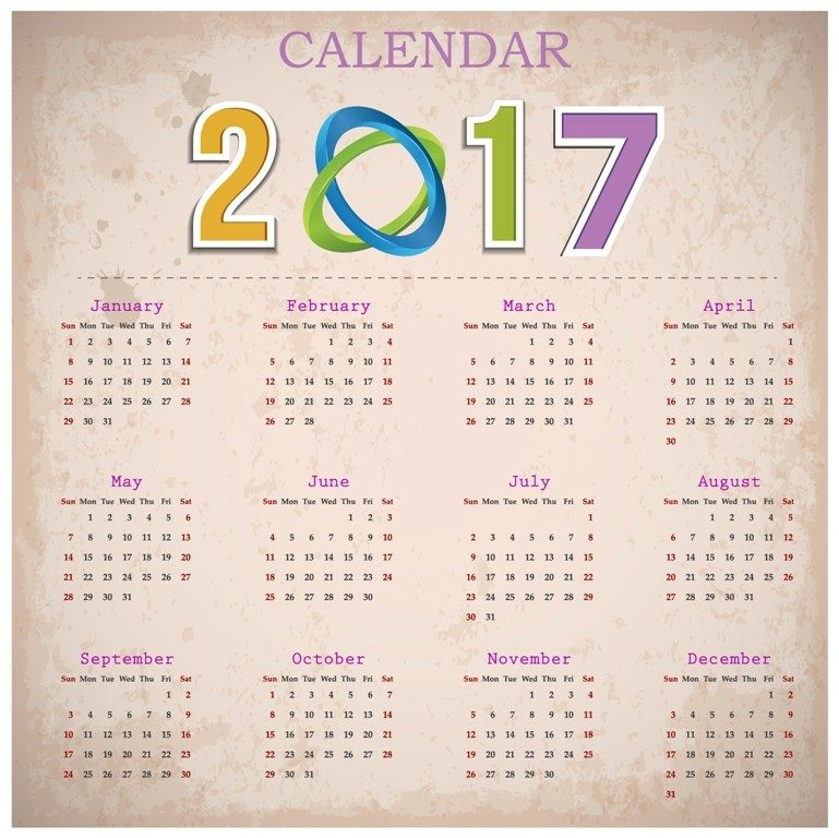 2017-calendar-55 58 Stunning Printable Calendar Templates