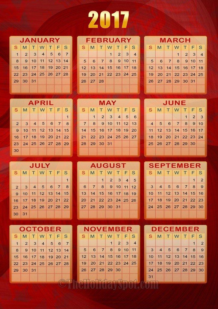 2017-calendar-9 58 Stunning 2017 Printable Calendar Templates