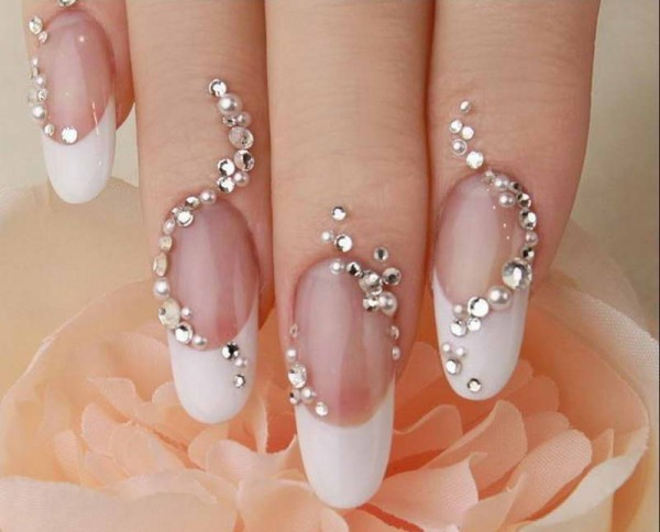 Cool-Wedding-Nail-Designs-With-Diamonds-And-Pearls-Ornament 35 Nails Designs; How Do You Paint Your Nails?