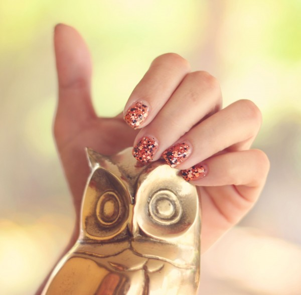 Halloween-orange-black-flakes-spooky-for-go-with-maybelline-costumes-easy-quick-fast-fun-witch-fall-scary-autumn-manicure-ideas-cute-nails-designs-how-to-diy-do-it-yourself-at-home-and-n-polka-dots 35 Nails Designs; How Do You Paint Your Nails?
