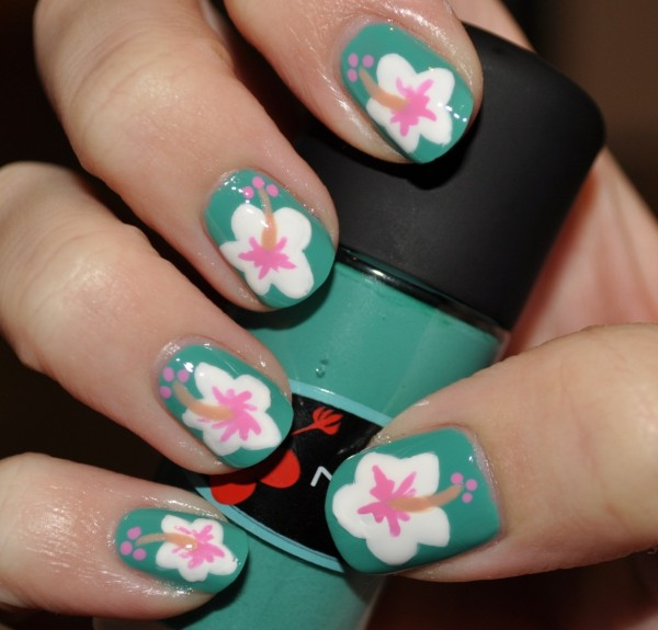 Hibiscus-nail-art-feat-MAC-ocean-dip 35 Nails Designs; How Do You Paint Your Nails?