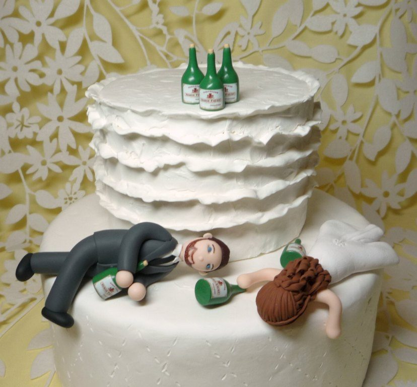 Partied-Too-Hard-wedding-cake-toppers-4 50+ Funniest Wedding Cake Toppers That'll Make You Smile [Pictures] ...