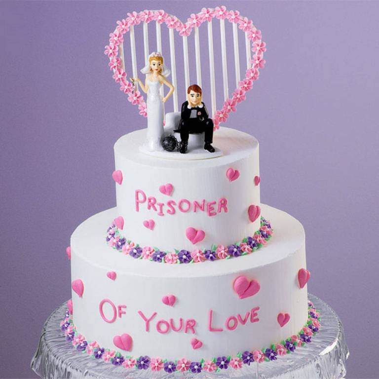 Under-Ball-and-Chain-wedding-cake-topper-3 50+ Funniest Wedding Cake Toppers That'll Make You Smile [Pictures] ...