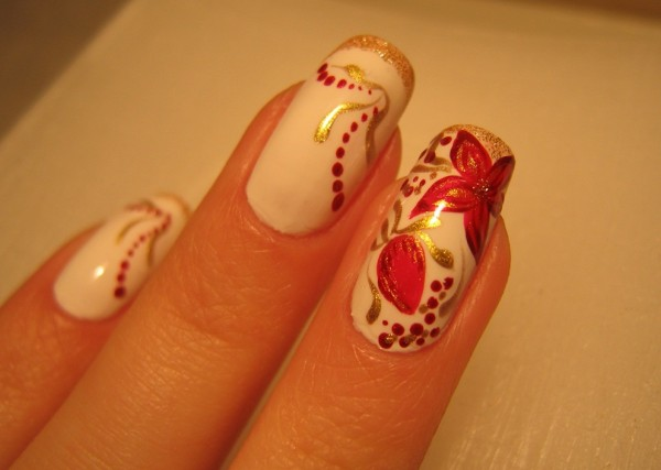 White-and-Red-Flower-Nail-Art 35 Nails Designs; How Do You Paint Your Nails?