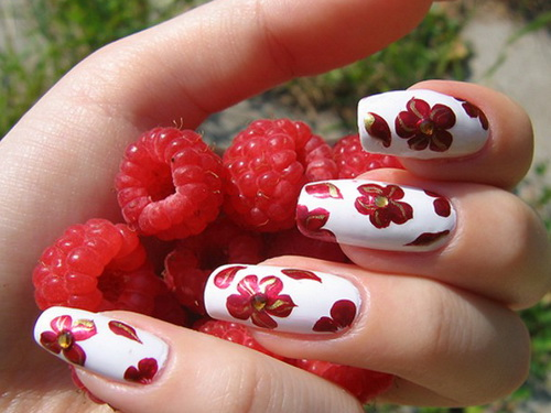 Wonderful-Red-Flower-Nail-Designs 35 Nails Designs; How Do You Paint Your Nails?