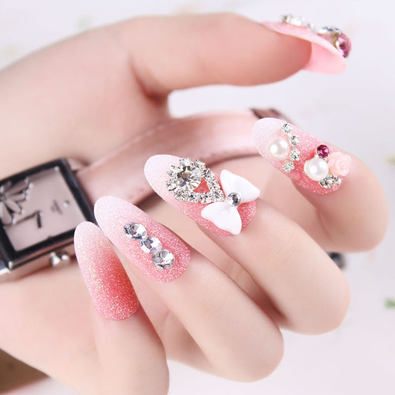 free-shipping-New-arrival-false-font-b-nail-b-font-patch-bride-sclerite-finished-product-pink 35 Nails Designs; How Do You Paint Your Nails?