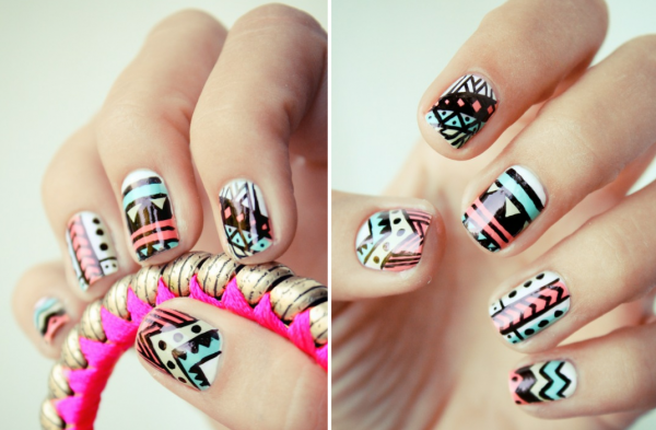 funky-wedding-nail-art-for-modern-stylish-brides-pastel-with-black-pattern.original 35 Nails Designs; How Do You Paint Your Nails?