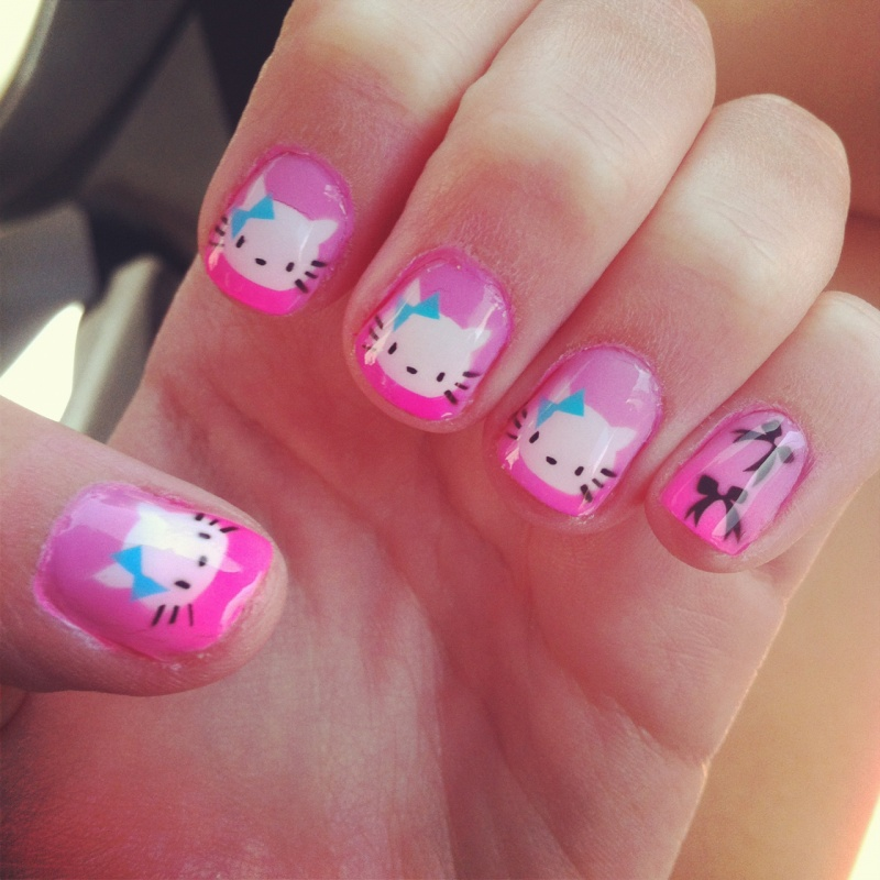 nail-art-2013-cute-cat-acrylic-nails-best-nail-designs-2013-new-collection-birthday-nail-designs 35 Nails Designs; How Do You Paint Your Nails?