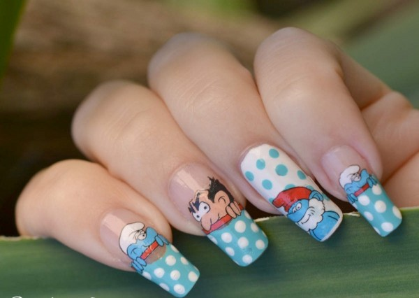 nail-art-designs-2013-cute-nail-art-trends-with-smurf-animation-pattern-stiletto-nail-designs 35 Nails Designs; How Do You Paint Your Nails?