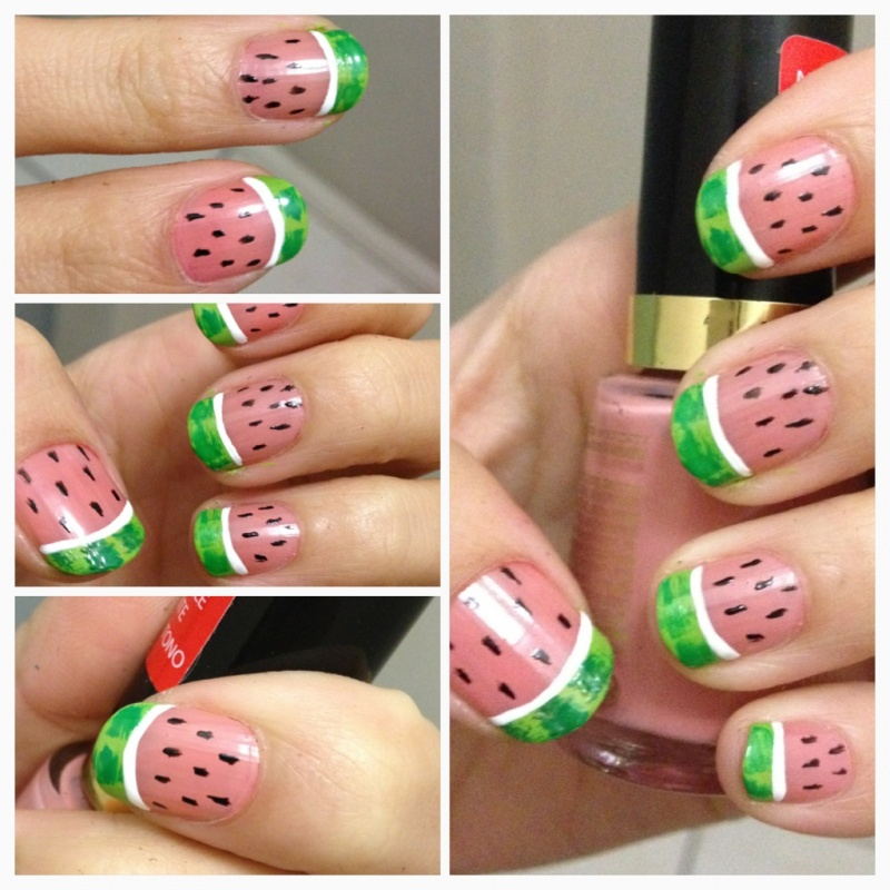 watermelon-nails-nail-art-do-it-yourself-how-to-do-manicure-summer-easy-cute-designs 35 Nails Designs; How Do You Paint Your Nails?