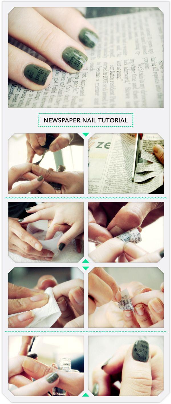 20926857827f8658ccdef9f1819d3193 20+ Newspaper Nail Art Ideas & Designs... [Tutorials Videos]