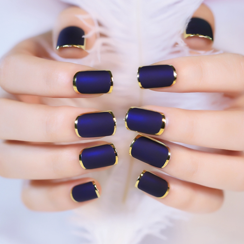 24pcs-Gold-Outline-French-font-b-Nails-b-font-Full-Frame-font-b-Royal-b-font 50+ Coolest Wedding Nail Design Ideas