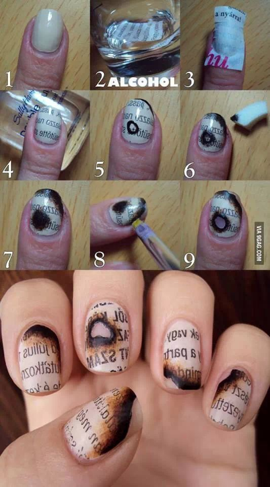 42dcc64073e74dc93d167833e8a56f02 20+ Creative Newspaper Nail Art Design Ideas
