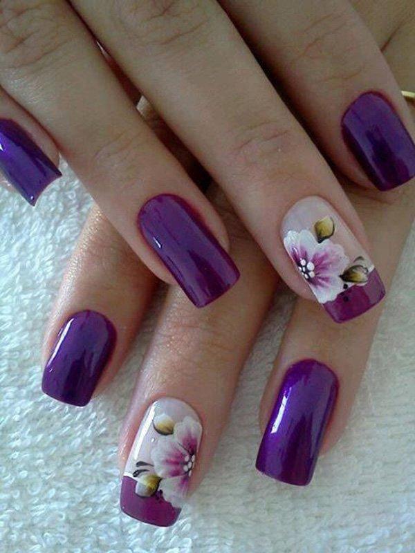 59-Purple-Flower-French-Manicure 50+ Coolest Wedding Nail Design Ideas