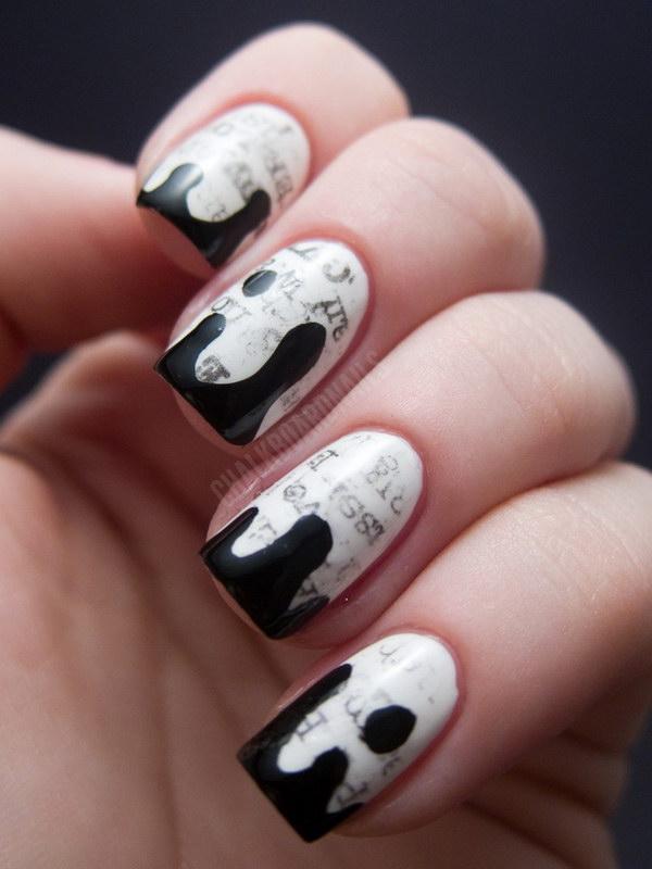 77-black-and-white-nail-designs 20+ Newspaper Nail Art Ideas & Designs... [Tutorials Videos]