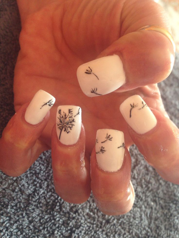 Acrylic-Nails-With-Dandelion-Nail-Art 50+ Coolest Wedding Nail Design Ideas