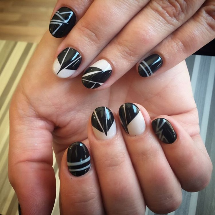 Black-and-White-Striped-Nail-Art 50+ Coolest Wedding Nail Design Ideas