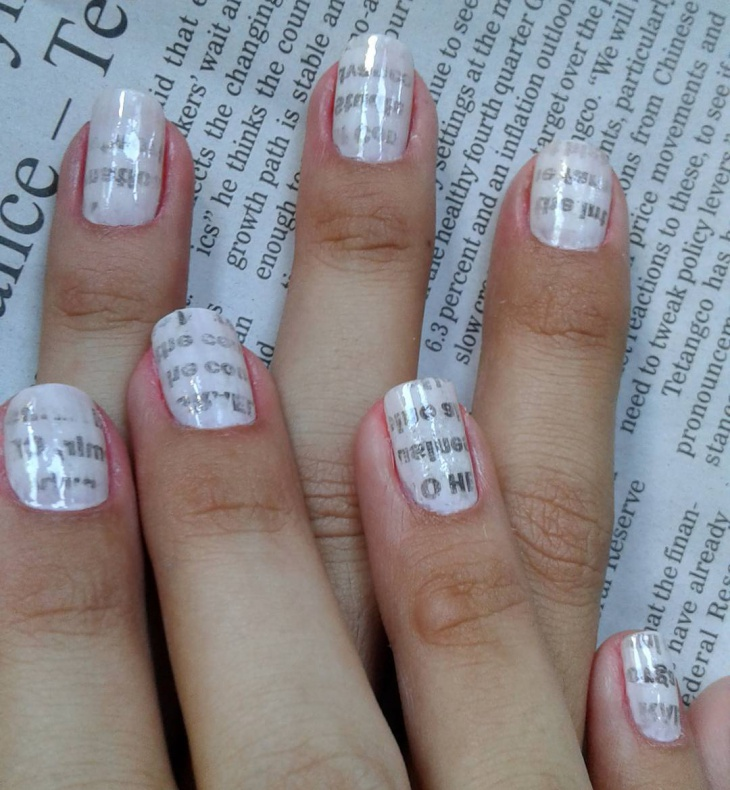 Glossy-White-Nail-Art-for-Long-Nails 20+ Creative Newspaper Nail Art Design Ideas