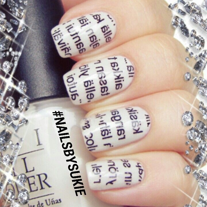 Newspaper-Nail-Art-Design 20+ Creative Newspaper Nail Art Design Ideas