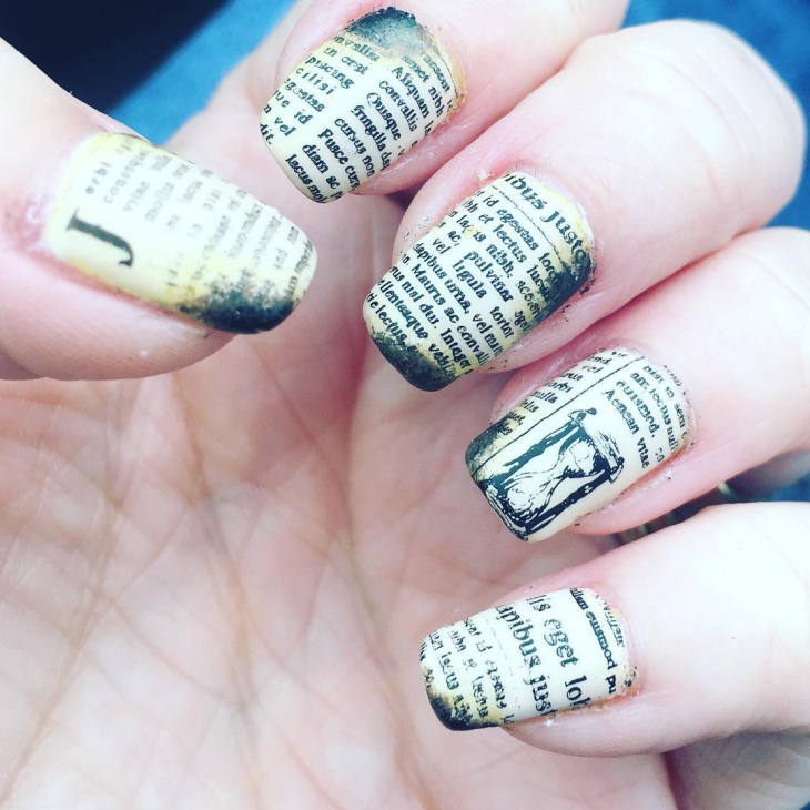 Old-Paper-Newspaper-Nails 20+ Creative Newspaper Nail Art Design Ideas