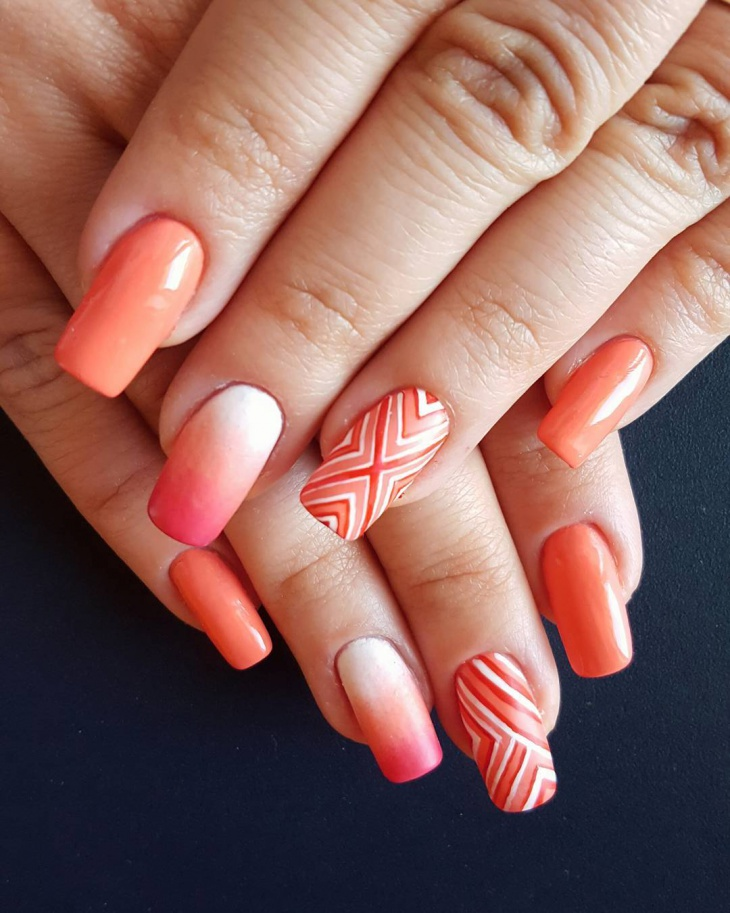 Orange-Striped-Nail-Design 50+ Coolest Wedding Nail Design Ideas