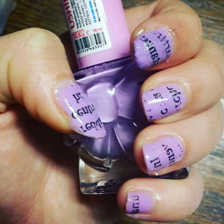 Purple-Nail-Art-Design 20+ Creative Newspaper Nail Art Design Ideas