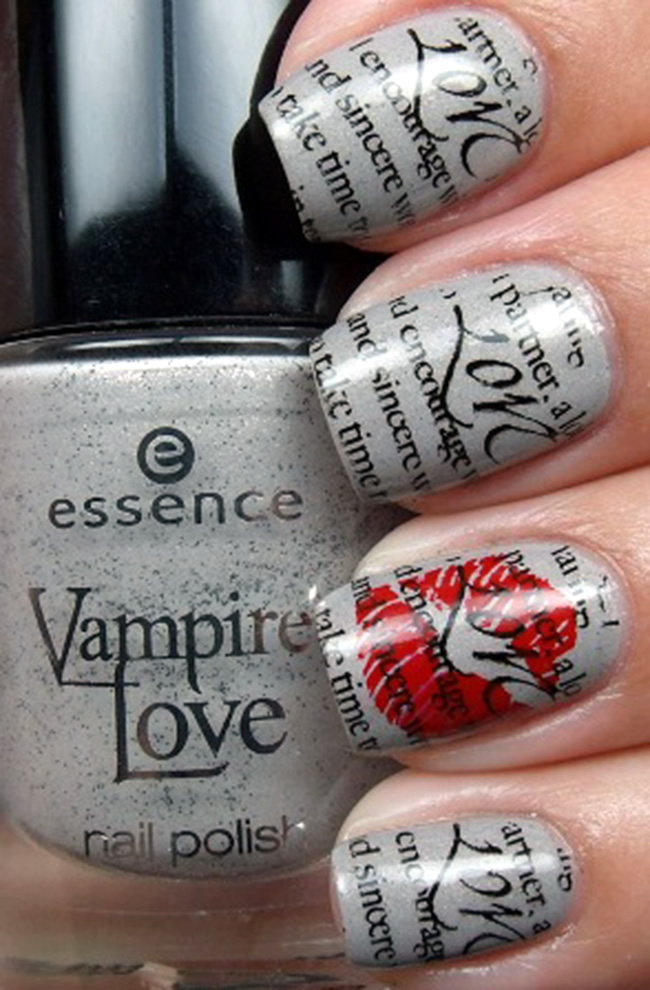 Romantic-Nail-Artwork-Ideas-For-Valentines-Day 20+ Creative Newspaper Nail Art Design Ideas