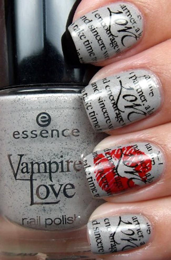 Romantic-Nail-Artwork-Ideas-For-Valentines-Day 20+ Newspaper Nail Art Ideas & Designs... [Tutorials Videos]