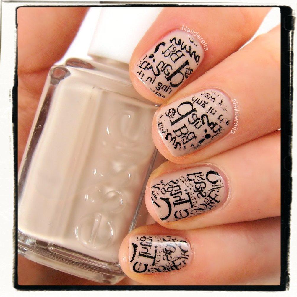 Typography-nails_3 20+ Newspaper Nail Art Ideas & Designs... [Tutorials Videos]