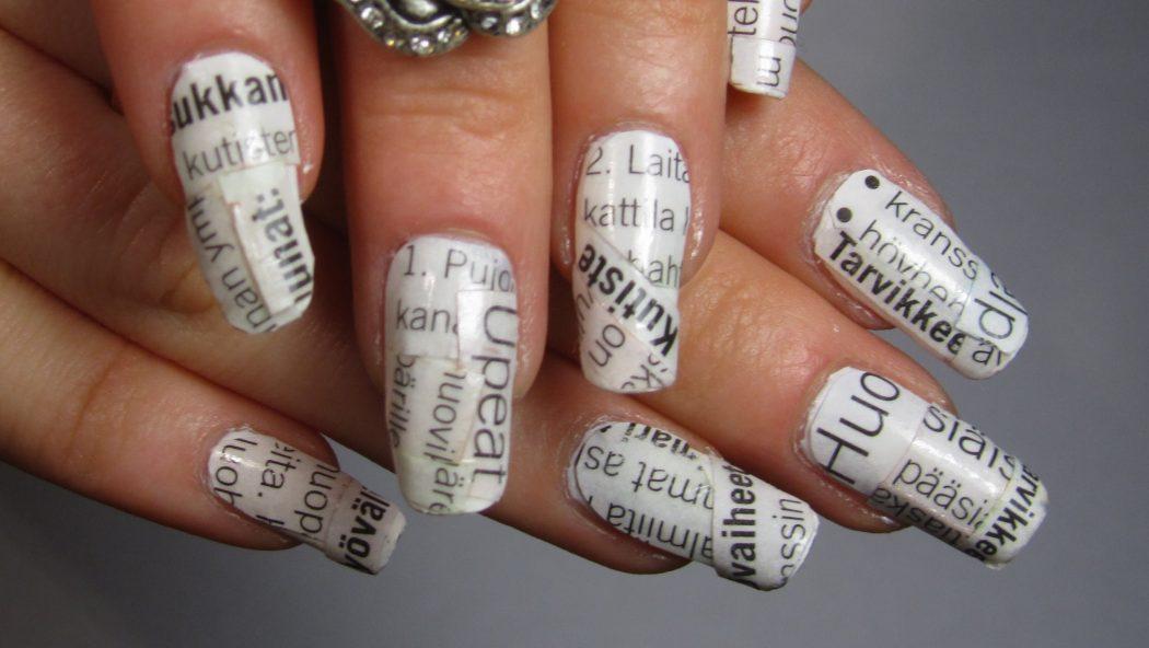 de49273473fcd5a48e2c54a3dedd7964 20+ Newspaper Nail Art Ideas & Designs... [Tutorials Videos]