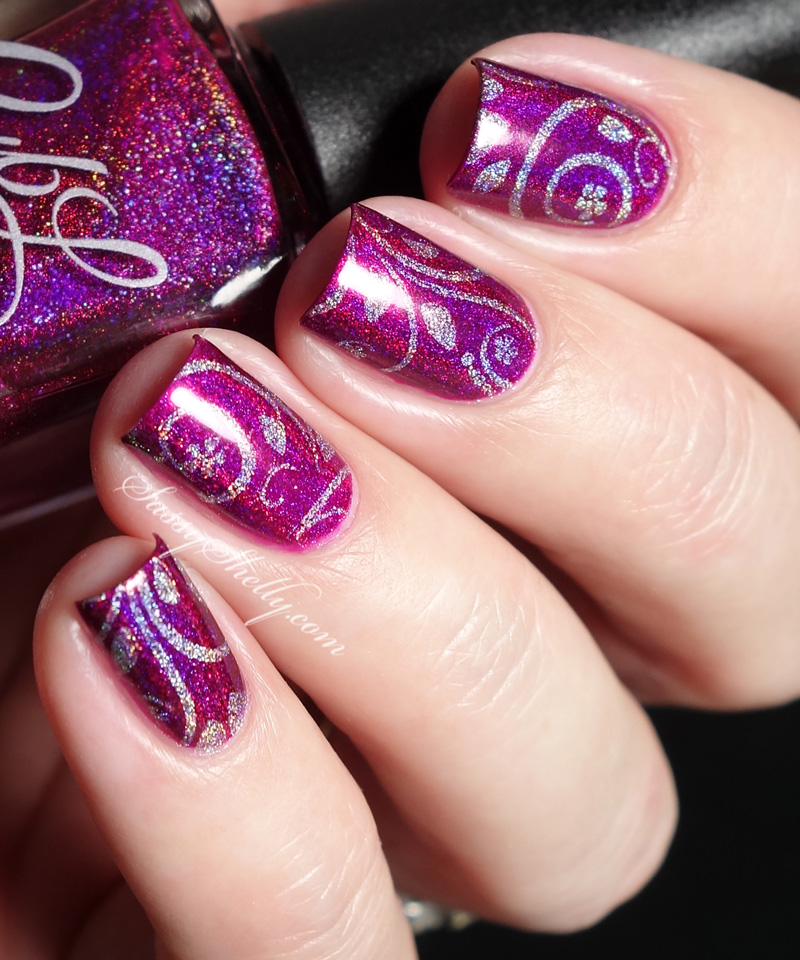 holo-polish-stamping-nail-art-cbl-if-you-dare-uberchic-4-03-beauty 50+ Coolest Wedding Nail Design Ideas