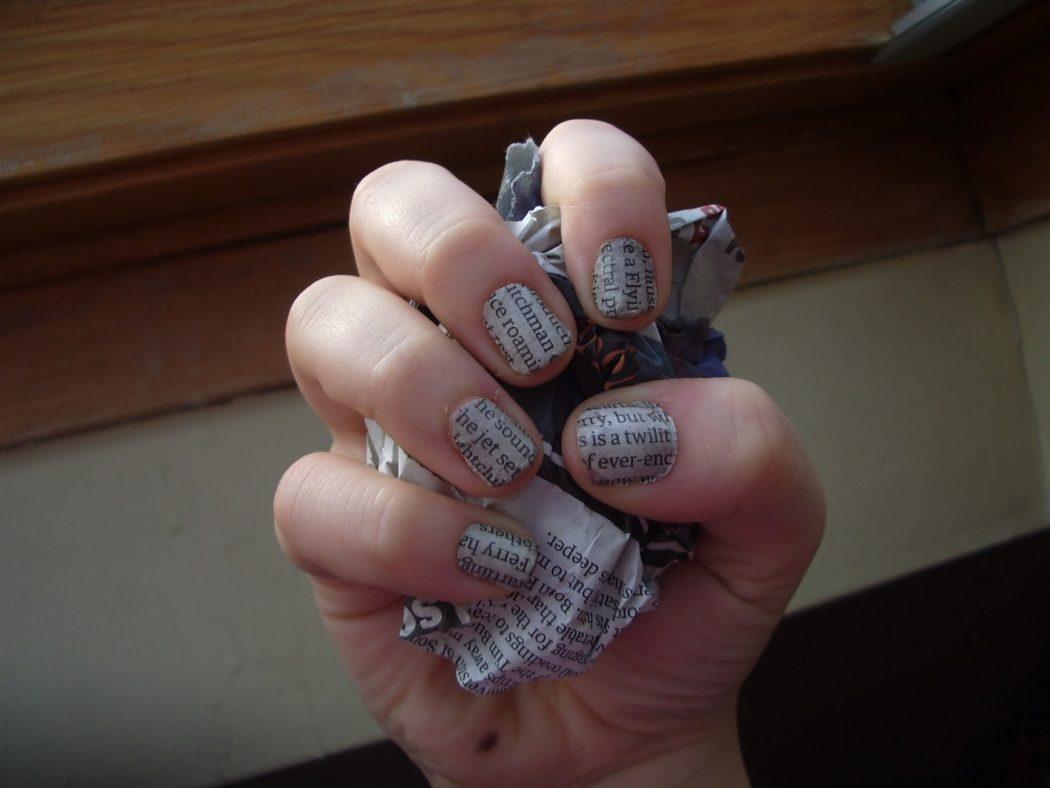 how-newspaper-nails-134811 20+ Newspaper Nail Art Ideas & Designs... [Tutorials Videos]