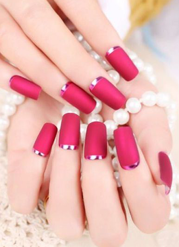 red-with-silver-crescent-moon-nails-6 50+ Coolest Wedding Nail Design Ideas