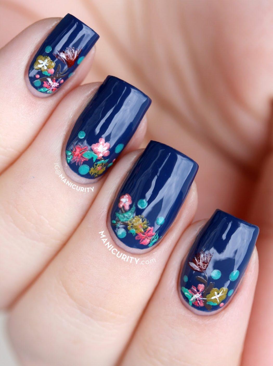 tiny-flower-nails-floral-half-moon-nail-art-china-glaze-5 50+ Coolest Wedding Nail Design Ideas