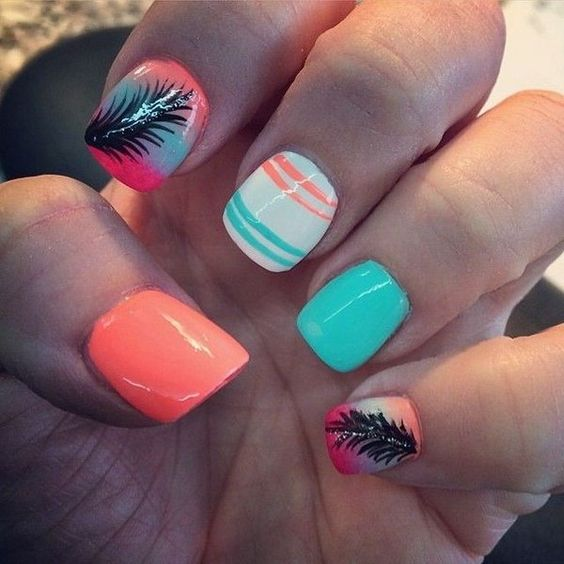 332884cb1ca935d42c7aba6f8b535b55 36 Easiest Feather Nail Art Designs