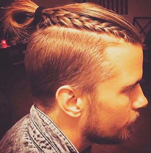 A-photograph-of-a-handsome-blonde-male-with-a-man-bun-undercut-hairstyle-and-some-of-his-long-hair-braided 6 Hottest Hairstyles for Men in 2020