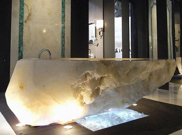 Crystal-Bathtub-for-Absolute-Luxury-Bathroom-with-The-Rock-Crystal-Bathtub-and-Sink-by-Baldi 69 Most Expensive Gemstones Bathtubs