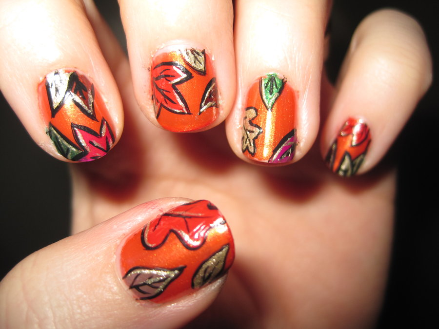 Falling-Leaves-of-Autumn1 10 Thanksgiving Nail Art Design To Try