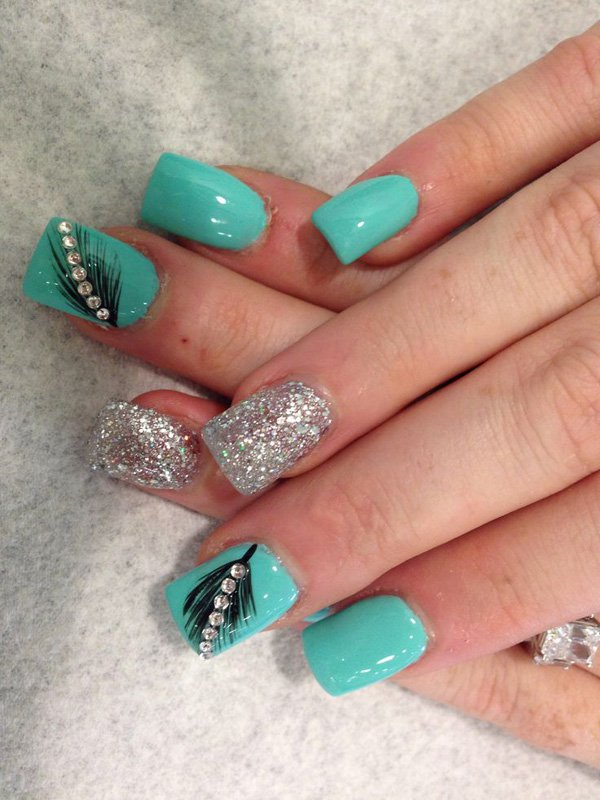 Feather-Nail-Art-1 36 Easiest Feather Nail Art Designs