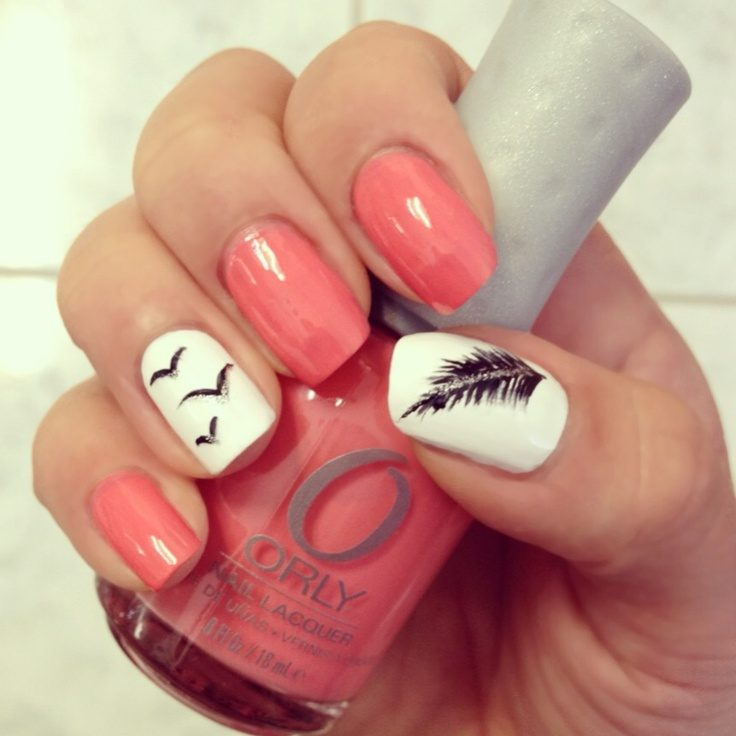 Feather-and-birds-with-pink-nails 36 Easiest Feather Nail Art Designs