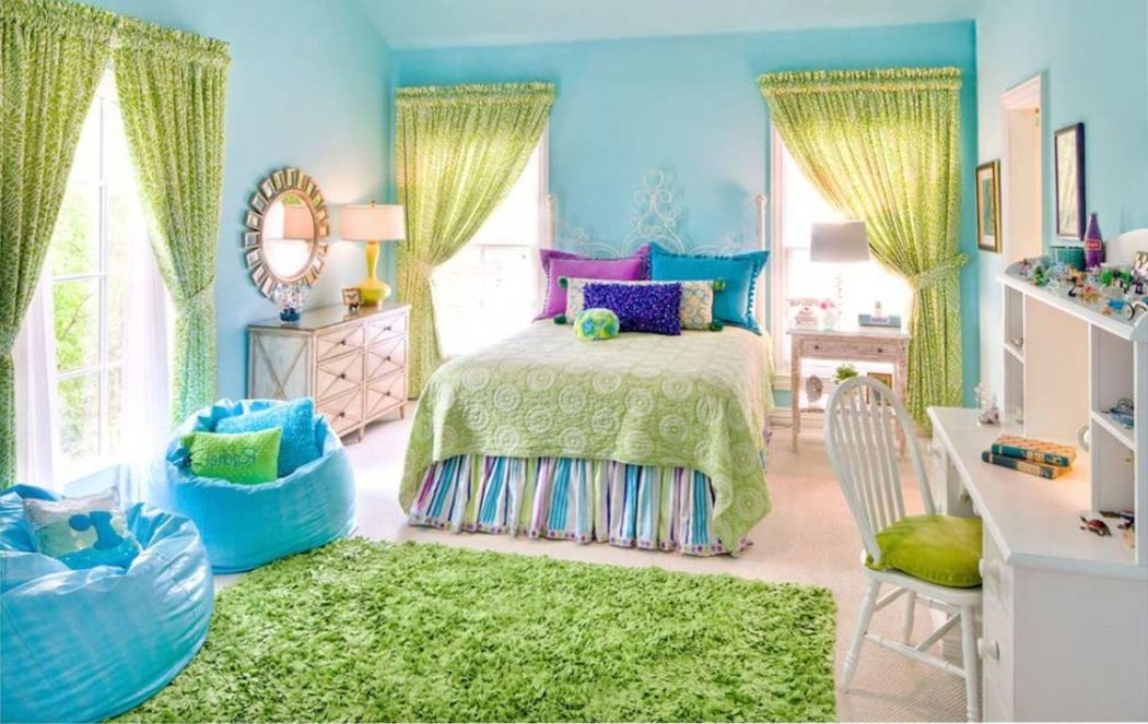 Green-big-best-paint-for-kids-room-windows-carpet-fabric-bed-bedcover-pillows-rainbow-colorfull-chair-plastic-wooden-chair-desk-stained-modern-contemporary-u 5 Main Bedroom Design Ideas For 2020