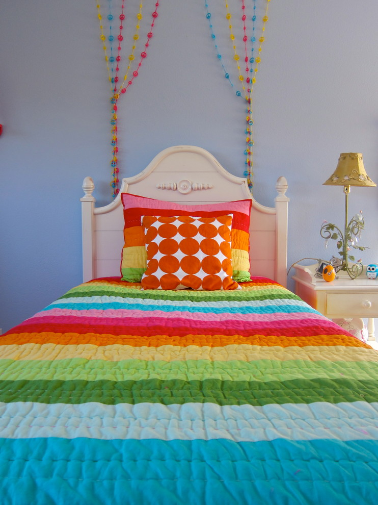 Inspired-Beaded-Curtains-trend-Los-Angeles-Contemporary-Kids-Inspiration-with-beaded-strings-Bedroom-colorful-cottage-dots-girl-kids-light-blue-walls-nightstand-rainbow-stripes 5 Main Bedroom Design Ideas For 2020