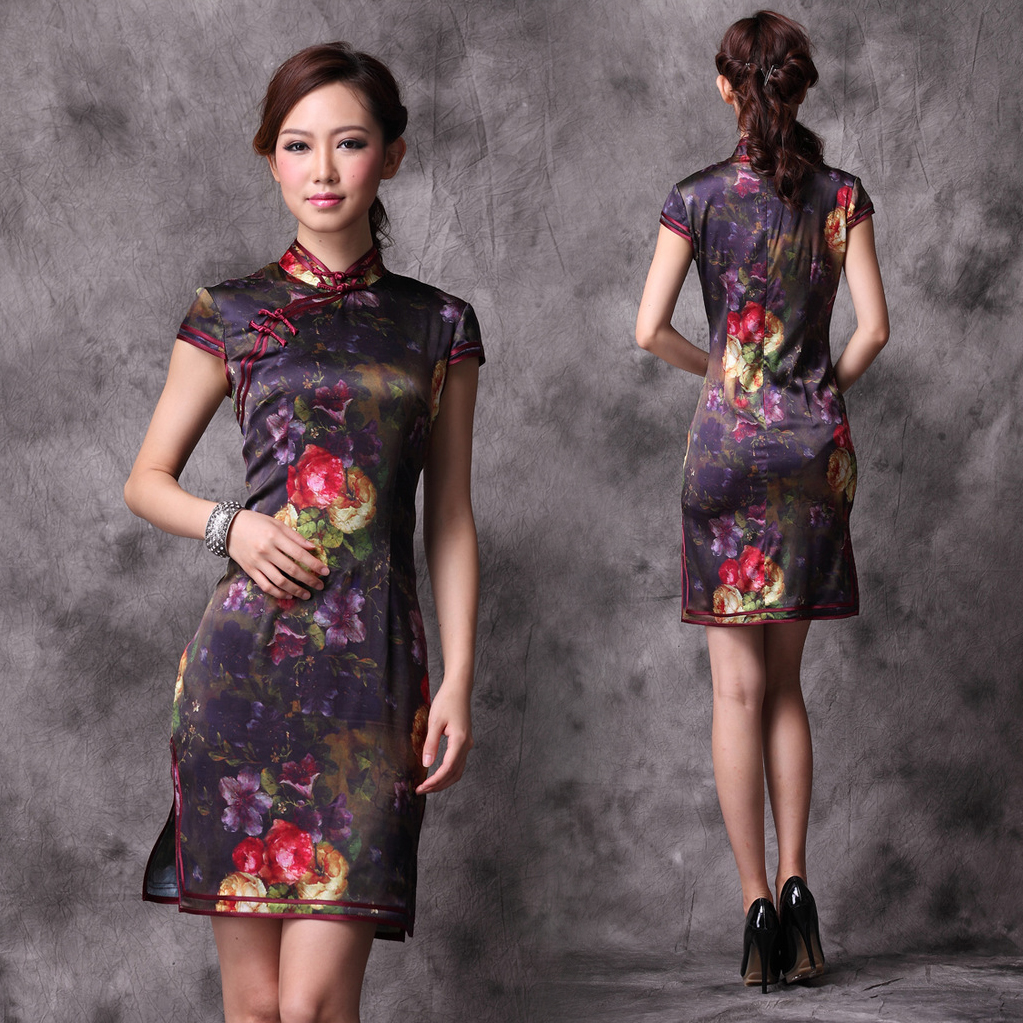 Oil-painting-floral-dark-modern-qipao-multi-colors-short-Chinese-cheongsam-summer-dress-002 25+ Women Engagement Outfit Ideas Coming in 2018