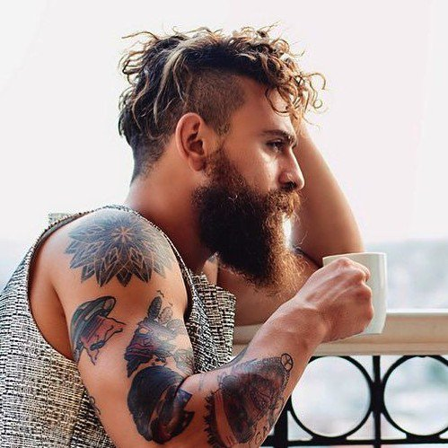 bulutozdemiroglu-street-style-long-wavy-hair-men-beard-undercut-e1443561730187 6 Hottest Hairstyles for Men in 2018