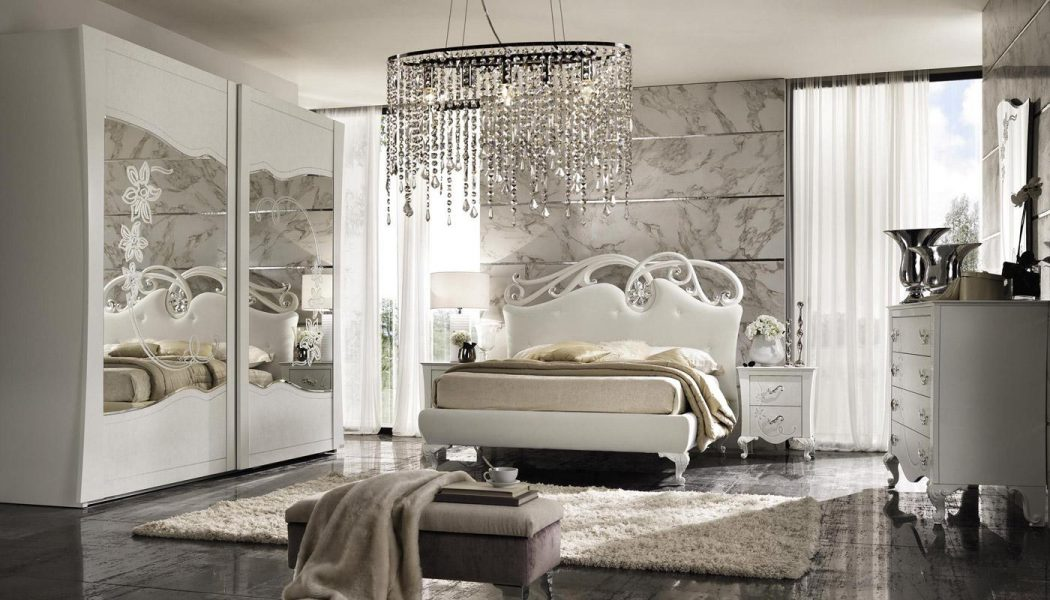 ceramic-wall-murals-in-master-bedroom-plus-luxury-pendant-light-plus-wardrobe-mirror-door-white-furniture-bedroom-color-elegant-design 5 Main Bedroom Design Trends For 2018