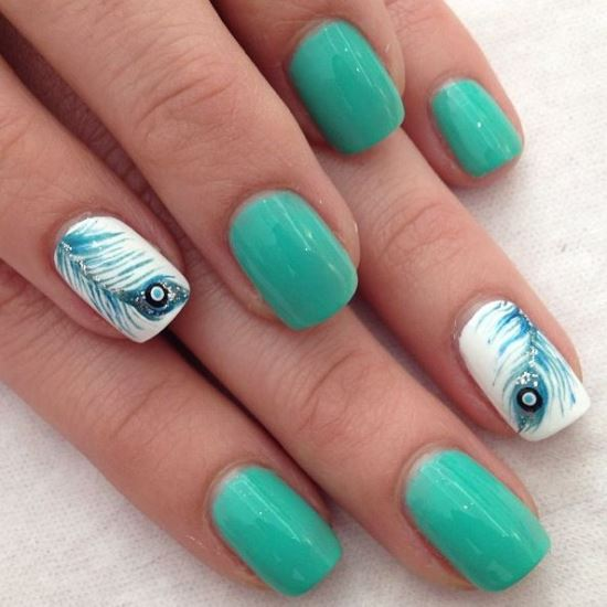 daaa 36 Easiest Feather Nail Art Designs