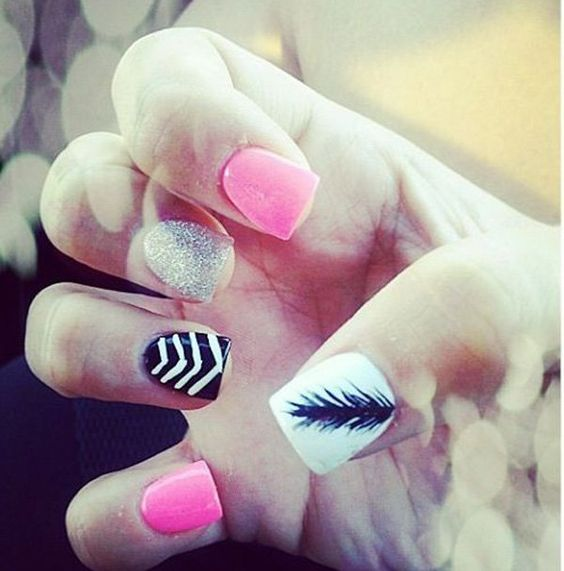dssssss 36 Easiest Feather Nail Art Designs