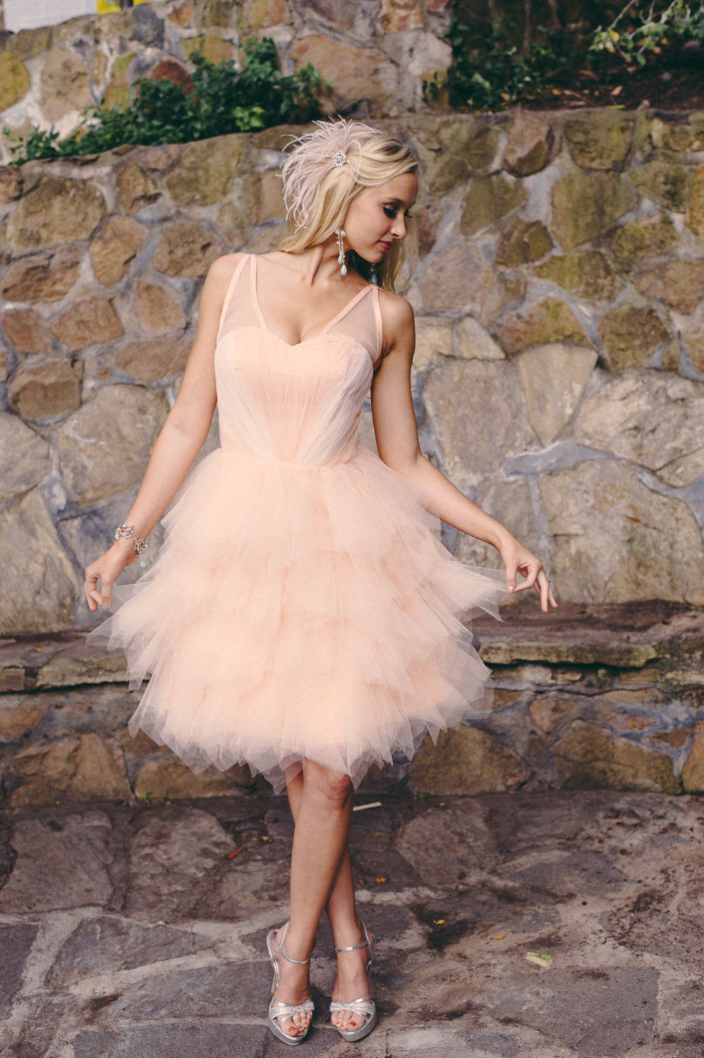 knee-length-blush-colored-layered-organza-short-informal-wedding-dress-1 25+ Women Engagement Outfit Ideas Coming in 2020
