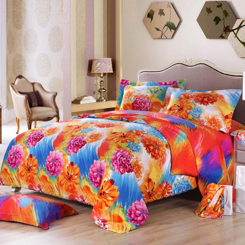 modern-teen-bedroom-orange-blue-hot-pink-bedding-sets-floral-print-pattern-style-comforter-pure-cotton-fabric-content-bright-floral-bedding-sets 5 Main Bedroom Design Trends For 2018