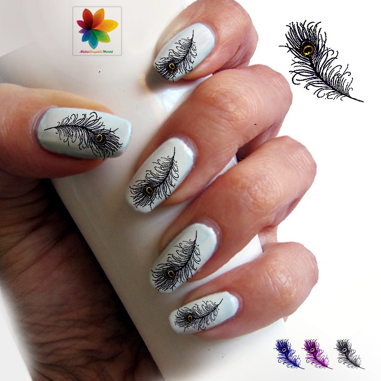 peacock-nail-decal-004_original 36 Easiest Feather Nail Art Designs